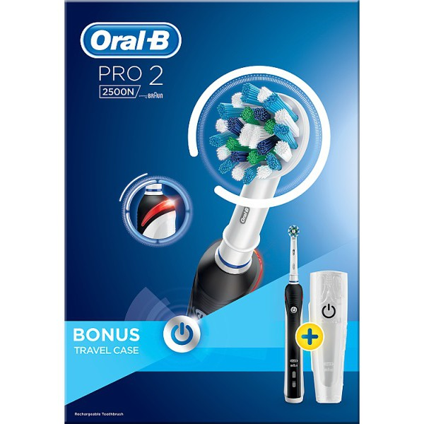 Oral B Pro 2500 Cross Action Black With Case Dental Direct