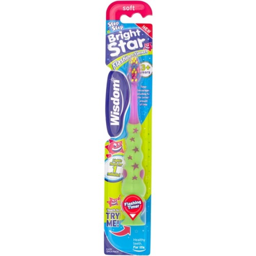 Wisdom Step By Step Bright Star Flashing Children's Toothbrush - image