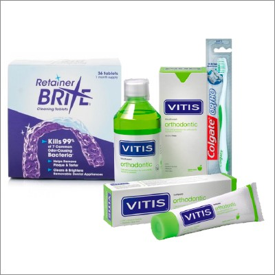 Orthodontics products category cover, showing images of VITIS Orthodontic Mouthwash, VITIS Orthodontic Toothpaste, Retainer Brite Cleaning Tablets